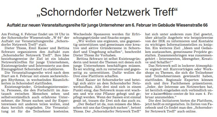 Artikel Schorndorfer Zeitung