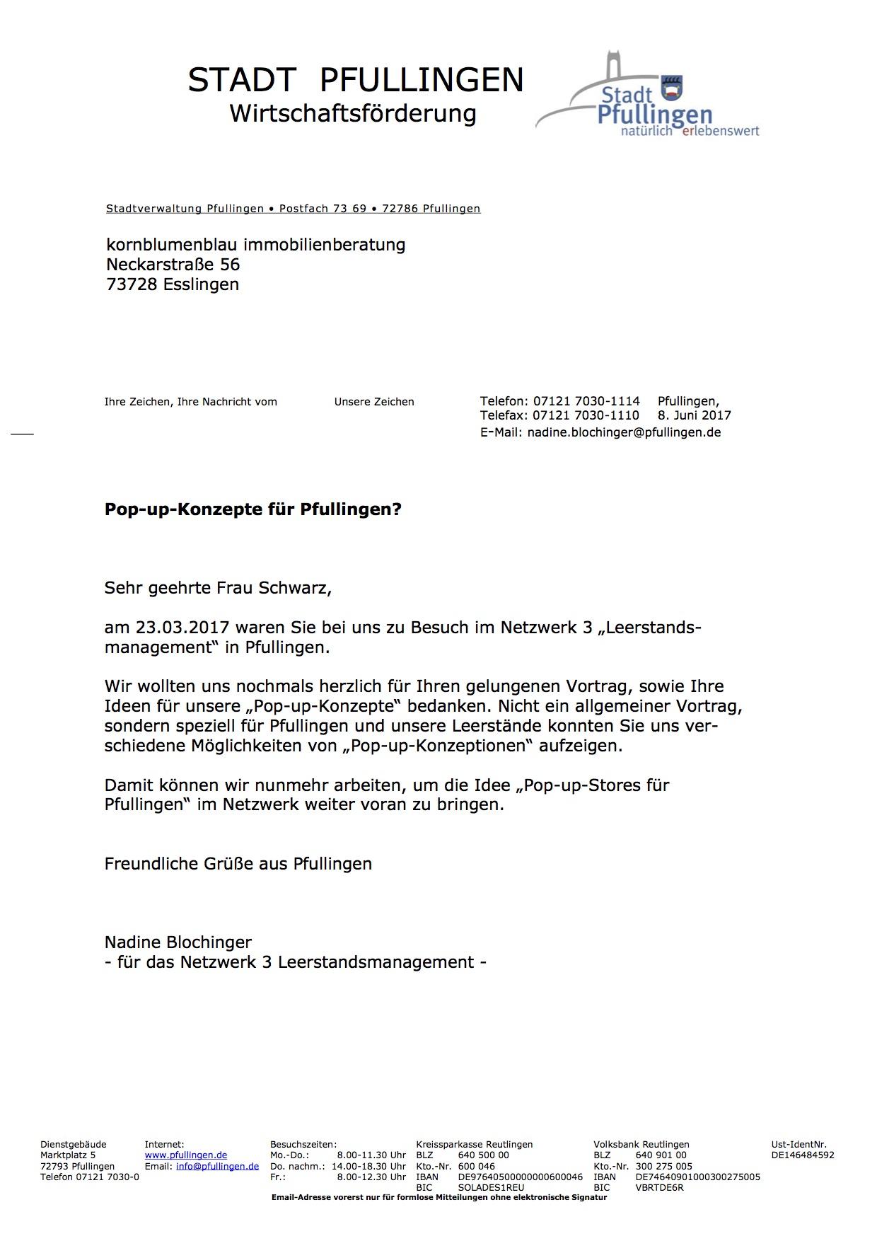 Schreiben an Frau Schwarz von Kornblumenblau vom 08.06.2017