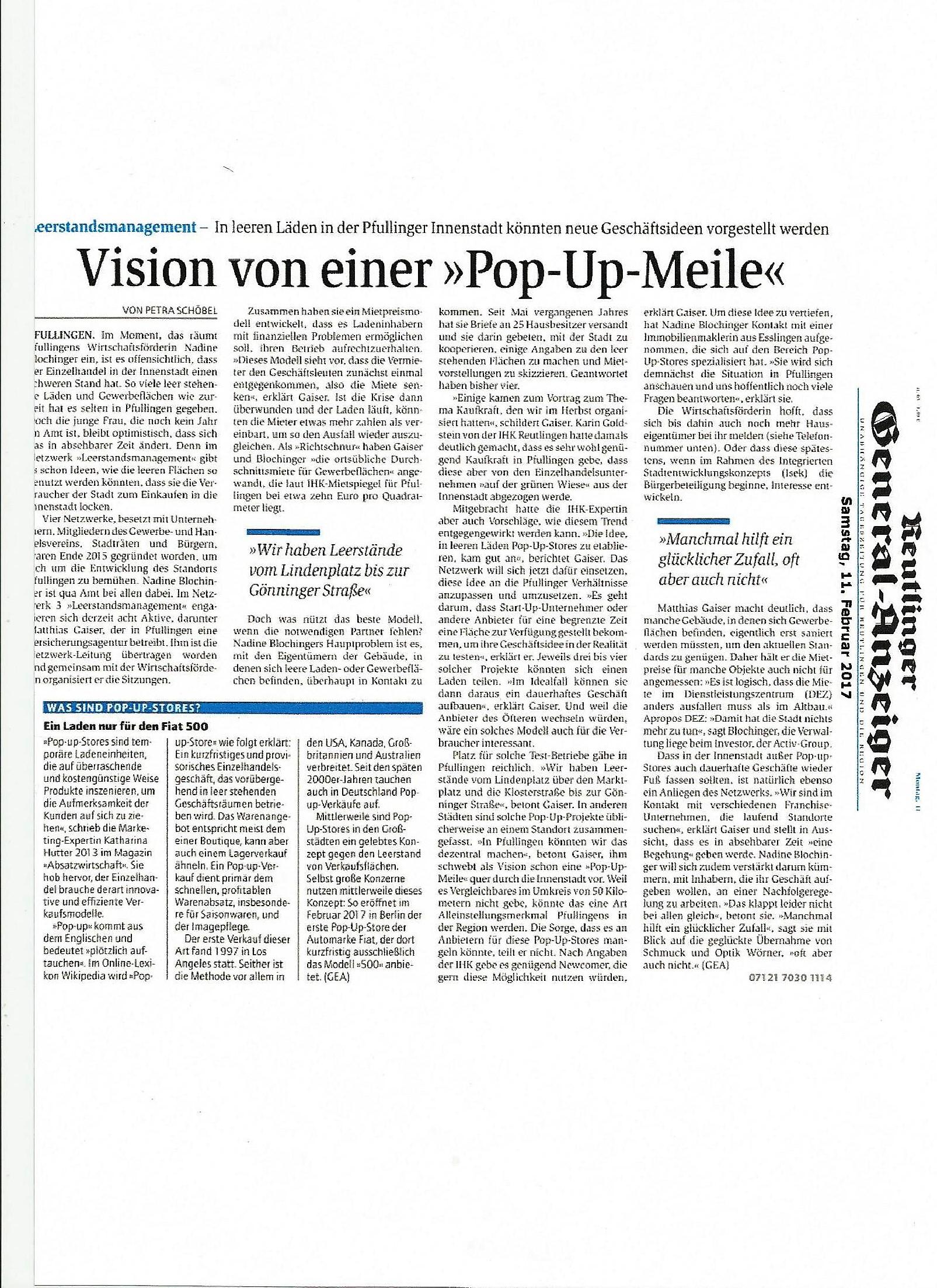 Zeitungsartikel Pfullingen